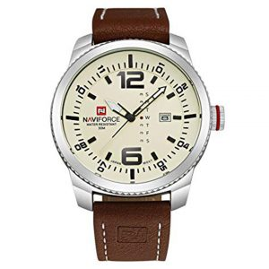 NAVIFORCE Original Genuine Leather Quartz Date Week Waterproof Sport Men Watch 9063 Brown Beige -0