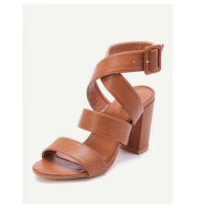PU Criss Cross Block Heels With Buckle -0