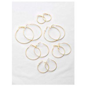 Plated Hoop Earrings Set -0