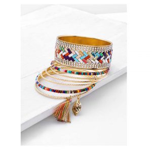 Rhinestone & Tassel Decorated Bracelet Set -0