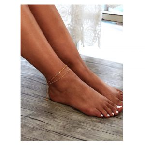 Sequin Detail Double Layer Chain Anklet / Bracelet -0