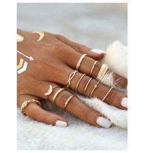 Gold Plated Embellished Ring Set -0