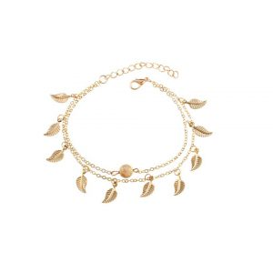 Metal Leaf Decorated Chain Anklet -0