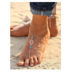 Turquoise Detail Chain Anklet With Toe Ring -0
