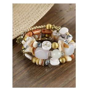 Mixed Shape Charm Beaded Layered Bracelet -0