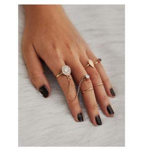 Rhinestone Leaf Design Ring Set -0