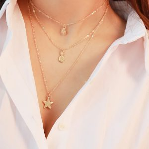 Multi Charm Layered Choker Necklace -0
