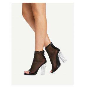 Net Yarn Peep Toe Chunky Heels-0
