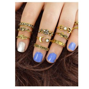 At-Gold 11Pcs/Set Moon Flower Leaf Jewelry Rings -0