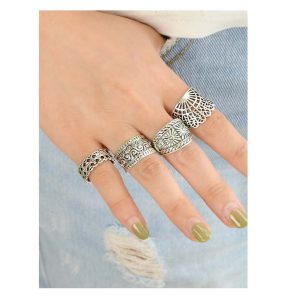 4 Pcs/Set Hollow Out Knuckle Ring Set -0
