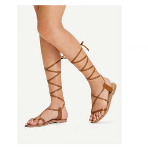 Lace Up Knee High Gladiator Sandal Boots -0