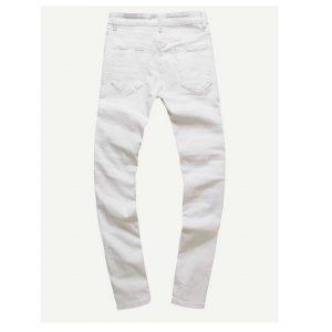 Men Zip Decoration Destroyed Skinny Jeans-0
