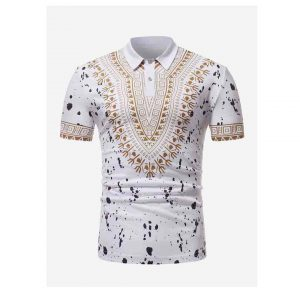 Men Ornate Print Paint Splatter Polo Shirt -0