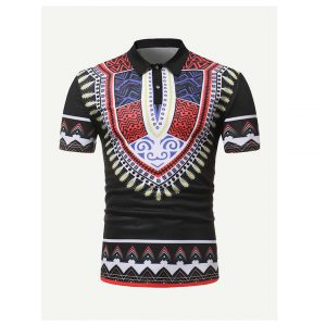 Men Ornate Print Polo Shirt -0