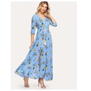 SHEIN Smocked Waist Tassel Tie Button Up Tropical Dress -0