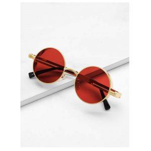 Metal Frame Round Lens Sunglasses -0