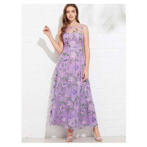All Over Flower Embroidered Mesh Overlay Dress -0