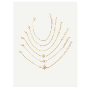 Star Detail Chain Bracelet Set 6pcs-0