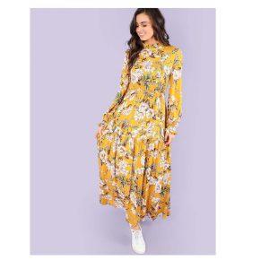 SHEIN Mock Neck Floral Print Dress-0
