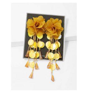 Sequin Fringe Flower Earrings -0