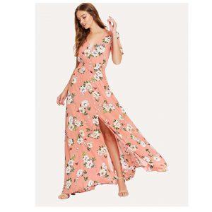 SHEIN Shirred Waist Floral Print Maxi Dress-0