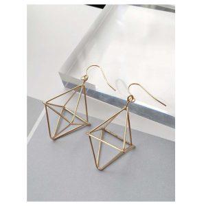 Hollow Geometric Design Drop Earrings -0