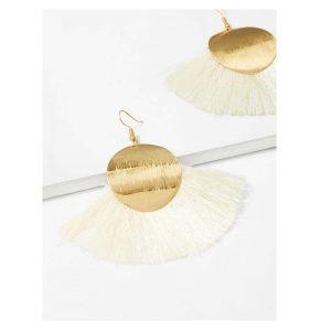 Disc Detail Tassel Drop Earrings -0