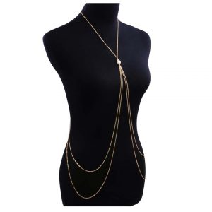 Faux Pearl Decorated Layered Body Chain -0