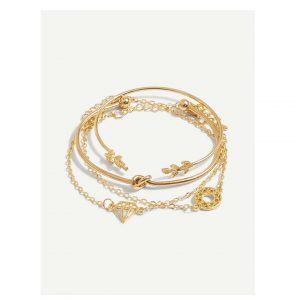 Twist & Leaf Bracelet Set 4pcs -0