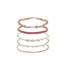 Flower & Woven Chain Bracelet Set 5pcs-0