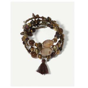assel Charm Stone Layered Bracelet -0