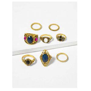 Gemstone Ring Set 8pcs -0