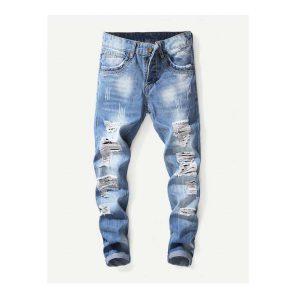 Men Washed Destroyed Jeans -0
