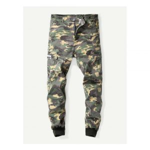 Men Pocket Decoration Camo Pants -0