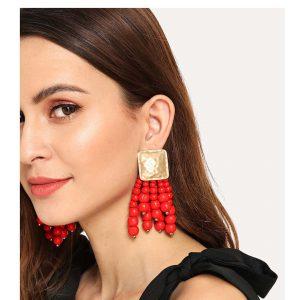 Bead Tassel Design Drop Earrings-0