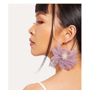 Flower Shaped Mesh Stud Earrings -0