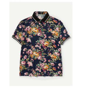 SHEIN Men Floral Print Striped Trim Polo Shirt -0