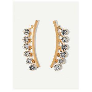 Rhinestone Decorated Bar Stud Earrings-0