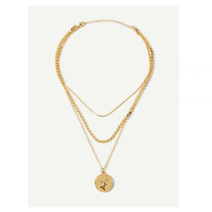coin Pendant Layered Necklace -0