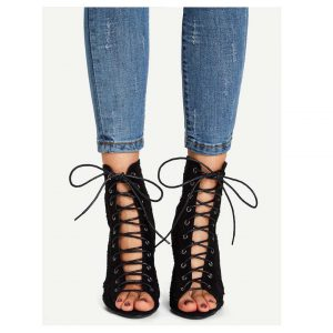 Lace-Up Lace Peep Toe Boots -0