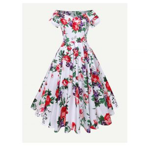 Floral Print Flare Dress -0