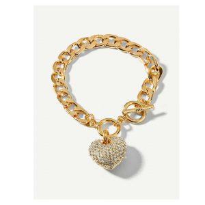 Rhinestone Heart Charm Chain Bracelet -0