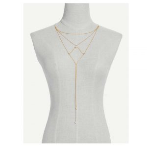 Faux Pearl Detail Chain Necklace -0