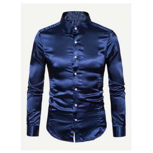 Men Curved Hem Satin Shirt -0