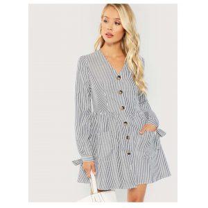 SHEIN Button & Pocket V-Neck Striped Dress -0