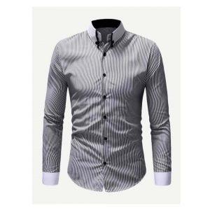 Men Striped Curved Hem Shirt-0