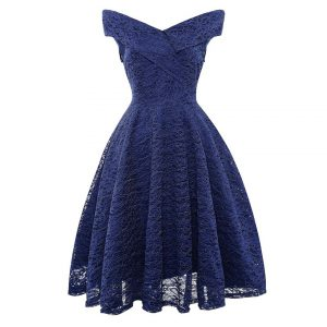 Contrast Lace Solid Dress -0
