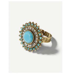 Contrast Round Gemstone Ring -0