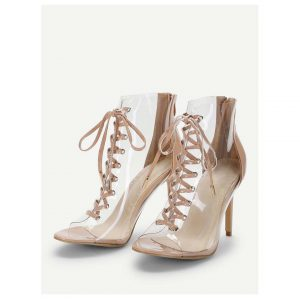 Lace Up Clear Stiletto Heels -0