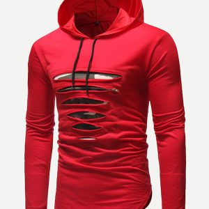 Men Ripped Hooded Tee -0